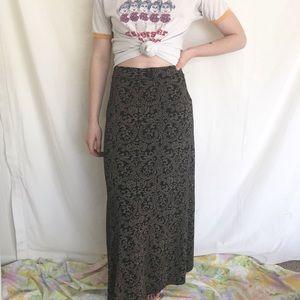 Vintage Bohemian Folk Grunge Long Maxi Skirt